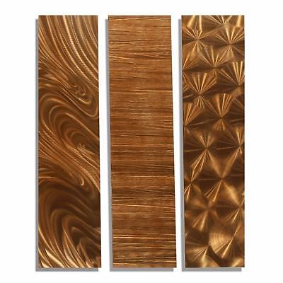 Modern 3 Piece Copper Abstract Metal Wall Art Accents   Copper Trilogy Ii
