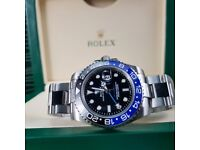 NEW!! Rolex Silver 'BATMAN' GMT Master, complete with Box, bag & paperwork. Collection or post. £140