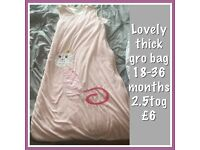 Lovely girls thick gro bag/ baby sleeping bag 18-36 months