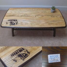 Handcrafted VW Van design on upcycled natural ash and beech wood coffee table