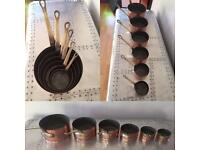 Vintage copper and brass pots