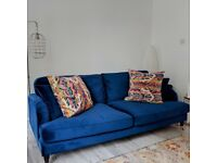 Stunning Royal Blue Rupert 3 Seater Sofa