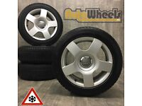 """16"""" GENUINE AUDI A4 ALLOY WHEELS & WINTER TYRES DELIVERY AVAILABLE vw seat"""