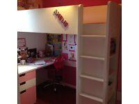 IKEA Stuva High sleeper white and pink