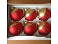 Christmas Baubles Reds and Gold. Immaculate. Bargain!