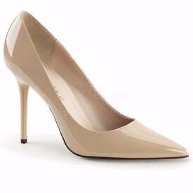 Pleaser Classique 20 High Heels UK 2 Nude
