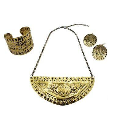 Brass Choker Necklace Set Gold Plated Cuff Boho Fashion Jewelry Hammered -