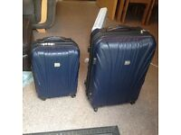 2x Navy Hard Shell Suitcases with 4 wheels