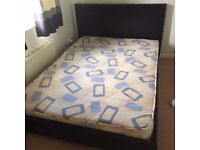 Faux leather double bed and spring mattress