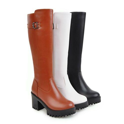 Trend Damen Kneehohe Stiefel Flach Boots Kunstleder Schnalle Freizeit Gr33//47//48