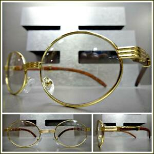 mens contemporary clear lens eye glasses oval gold wood wooden effect frame - Wooden Frame Glasses