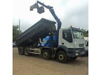 IVECO TREKKER, 2007, 8 WHEEL TIPPER WITH HMF 1144 CRANE AND GRAB BUCKET