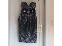 Brand New With Tags - River Ireland Grey Print Dress - Size 8 -