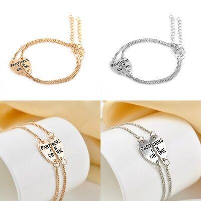 2pc/Set Partners in Crime Heart Bracelet Ring Necklace Best Friend Sisters (Best Friend Ring Set)