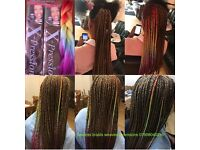 BOX BRAIDS/ FAUX LOCS /CORNROW/WEAVE HAIR EXTENSIONS/AFRO CARIBBEAN/EUROPEAN HAIR /BRAZILIAN HAIR