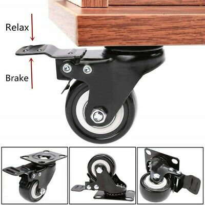 4pcs 2inch Swivel Rubber Caster Wheels With Brake Top Plate Bearing Heavy Duty