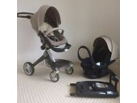 STOKKE Xplory Complete Travel System in Beige (stroller pram pushchair + car seat + Isofix base)