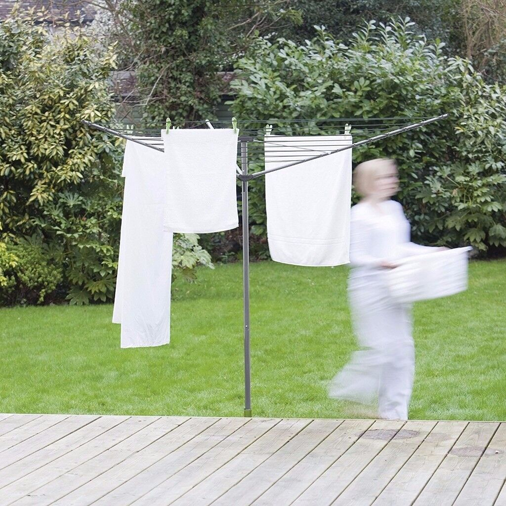 ADDIS 3 Arm Folding Rotary Airer Outdoor Twirly Washing Clothes Line 35m