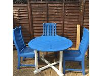 Garden table 3 chairs new paint