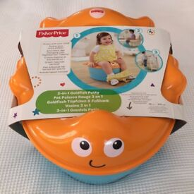 Childrens Fisher Price 3 In 1 Goldfish Potty Ring Toilet Training Step Stool New