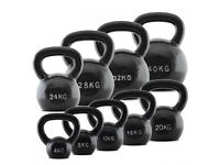 Cast Iron Kettlebell Set including 4k, 8Kg, 12Kg, 16Kg, 20Kg, 24Kg, 28Kg, 32Kg and 40Kg