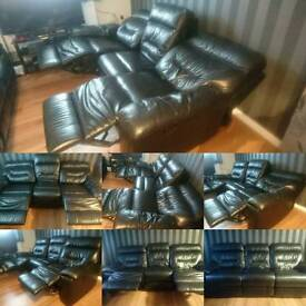 Dfs leather reclining sofa