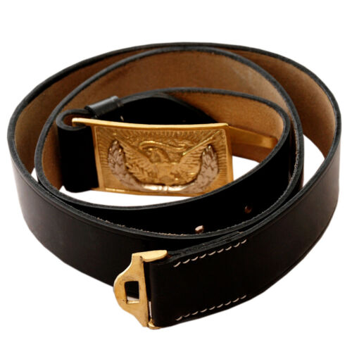 U.S. Civil War World war Army Leather Belt with Brass Eagle Buckle Waist Belt