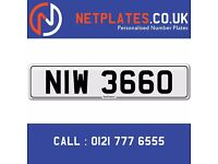 'NIW 3660' Personalised Number Plate Audi BMW Ford Golf Mercedes VW Kia Vauxhall Caravan van 4x4