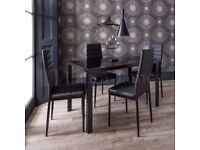 ❋★❋BRAND NEW ❋★❋GLASS DINING TABLE WITH 4 CHAIRS ONLY £149 ❋★❋