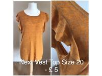 Next ladies summer vest top Orange plus size, size 20