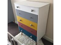 Upcycled/quirky shabby chic chest of drawers