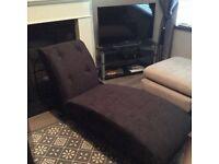 As New Velvet Black Chaise Longue
