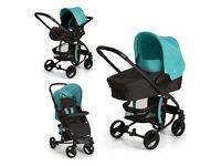 NEW NO BOX HAUCK MIAMI 4 TRAVEL SYSTEM PRAM PUSHCHAIR AQUA BLACK CAR SEAT CARRYCOT FROM BIRTH