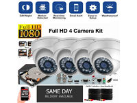 Full HD 1080p CCTV Security Camera Kit / 4x 1080p Dome Cameras / 1080p DVR with Hard Drive / Cables.
