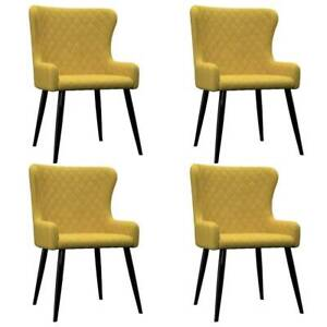 Dining Chairs 4 pcs Yellow Velvet Y0I-279171