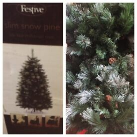 6ft Slim Snow Pine Christmas Tree