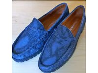 PETER HAHN SHOES BLUE LEATHER LOAFERS SLIP ON NON-SLIP GRIP SOLES DESIGNER ITALIAN