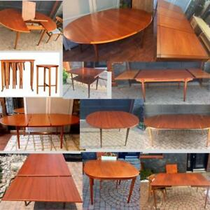 REFINISHED Danish Mid Century Modern Teak Walnut Dining Tables from $499, teak chairs from $175