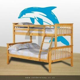 trio wooden bunk bed frame with choice of mattresses