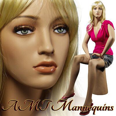 Female Realistic Mannequin Sitting Handmade Full Body Manikin- Joanpedestal