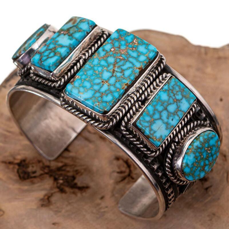 Native American Turquoise Bracelet Sterling Silver Natural HEAVY Row ALBERT JAKE