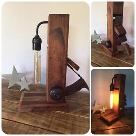 Vintage Wooden Plane Table Lamp