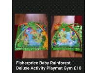 Fisherprice Baby Rainforest Deluxe Activity Play Mat Gym