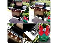 Uniflame 5 Gas Burner Side Hob Steel BBQ Barbecue with Calor 5kg Patio Propane Bottle (3/4 Full)