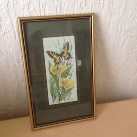 Set of Cash's silk pictures - flowers and butterflies