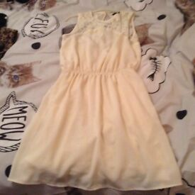 H M cream Dress in cream size14