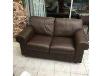 Sofa two seater brown leather..
