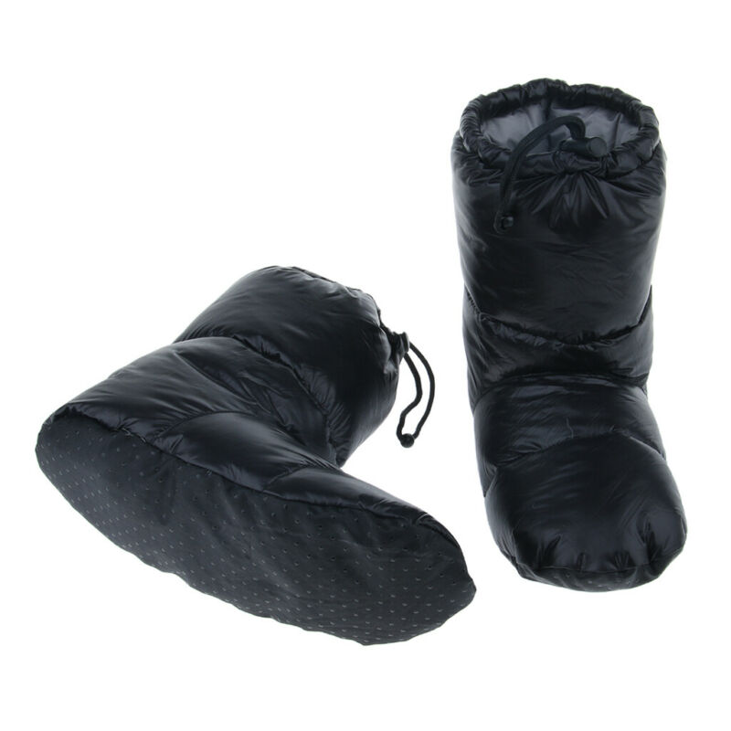 White Goose Down Slippers Winter Warm Camping Tent Foot Booties, Black, L