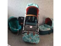 Urbo 2, pushchair inc carry cot, car seat, isofix, car seat adaptors, raincovers & changing bag