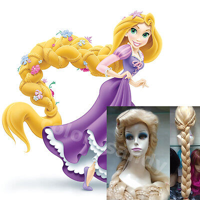 Disney Film Tangled Rapunzel Cosplay Perücke Lange Blonde Free Wig Kappe Party ()